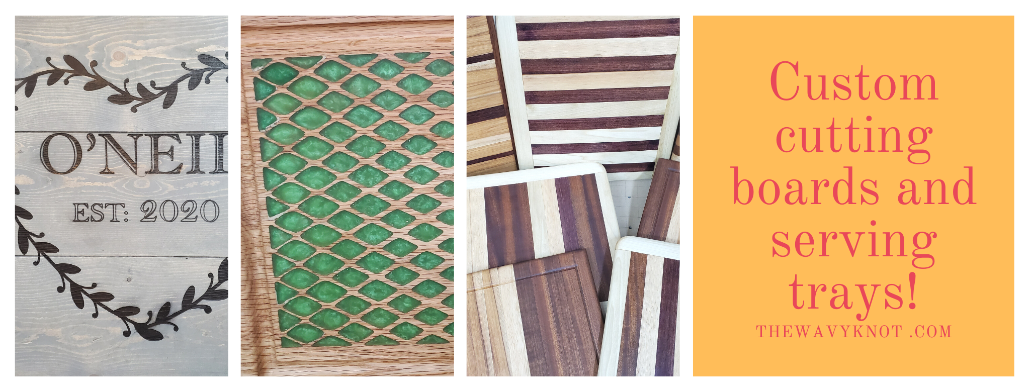 Custom cutting boards and serving trays!